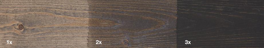 Restol™ Indiana Grau auf unbehandeltem Holz: