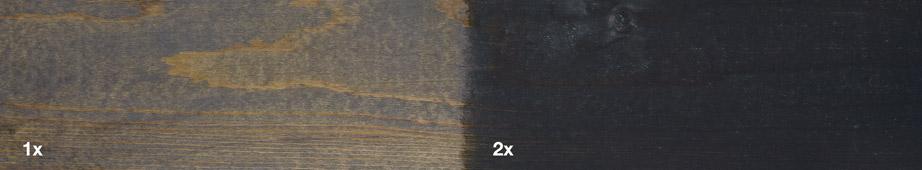 Restol™ Anthrazit auf imprägniertem Holz: