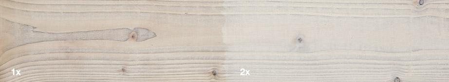 Restol™ Perlweiß auf impr&aumlgniertem Holz: