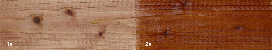 Restol™ Rotbraun auf imprägniertem Holz: