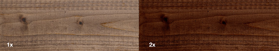 Restol™ Dark Oak on impregnated wood: - Restol™